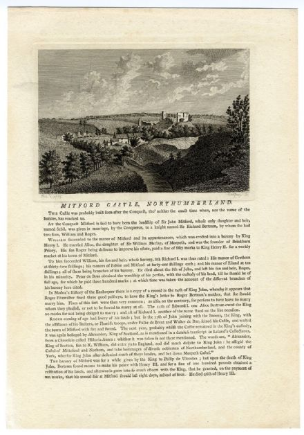1784 MITFORD NORTHUMBERLAND Print from Copper Engraving